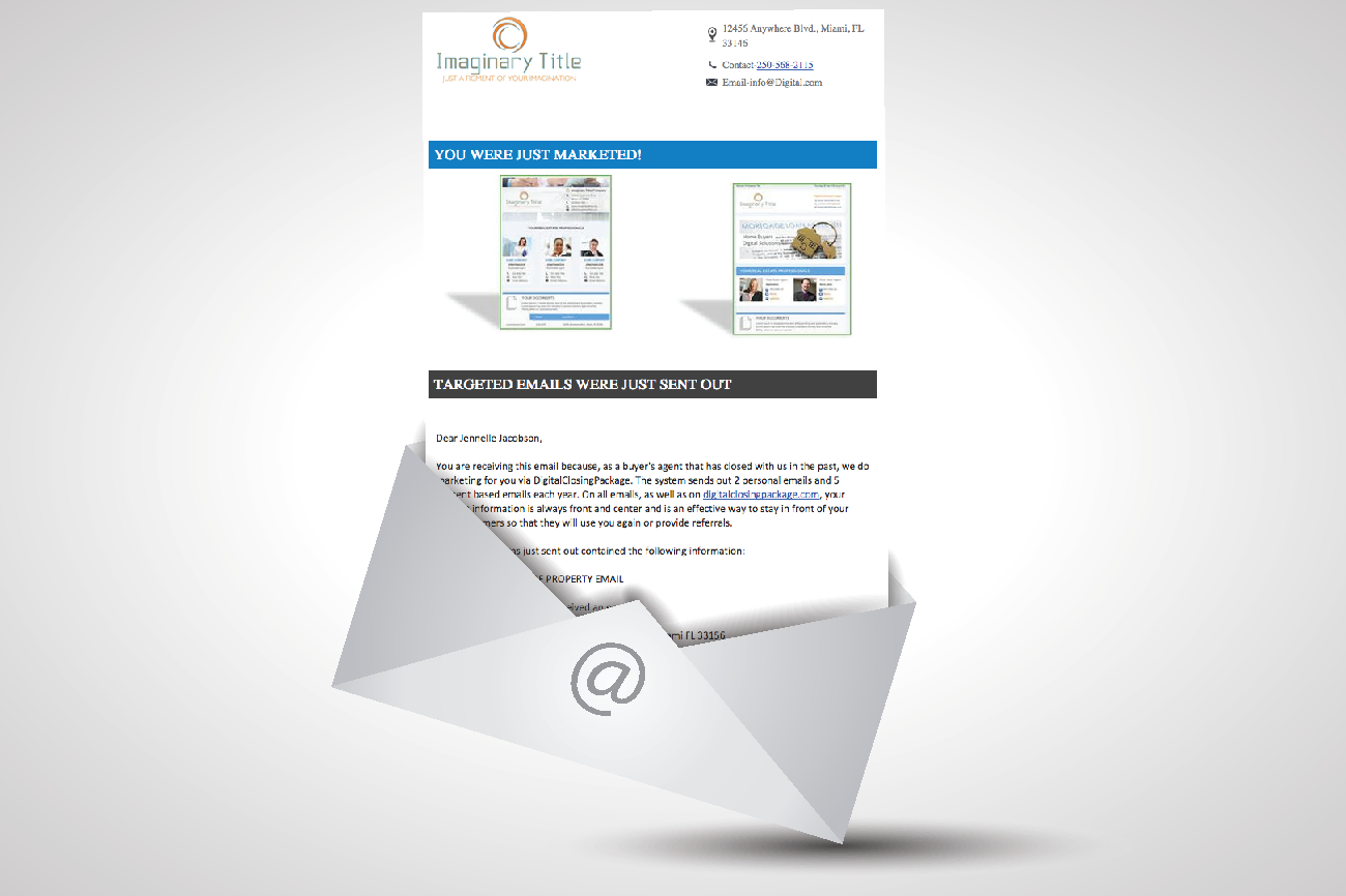 Emails to Buyer and Seller Real Estate Agents / Lenders